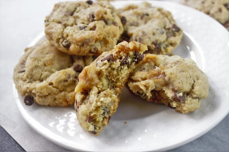 These easy Neiman Marcus Cookies are full good things. Gooey chocolate chips, big chocolate chunks, even swirls of rich chocolate throughout the cookie dough!