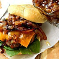 Bacon Burgers with Caramelized Onions