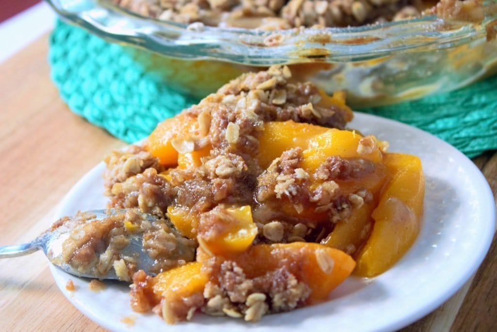 This has to be the best peach crisp recipe around: well-rounded in flavor, simple to make, and the best way to use up your summer peaches.
