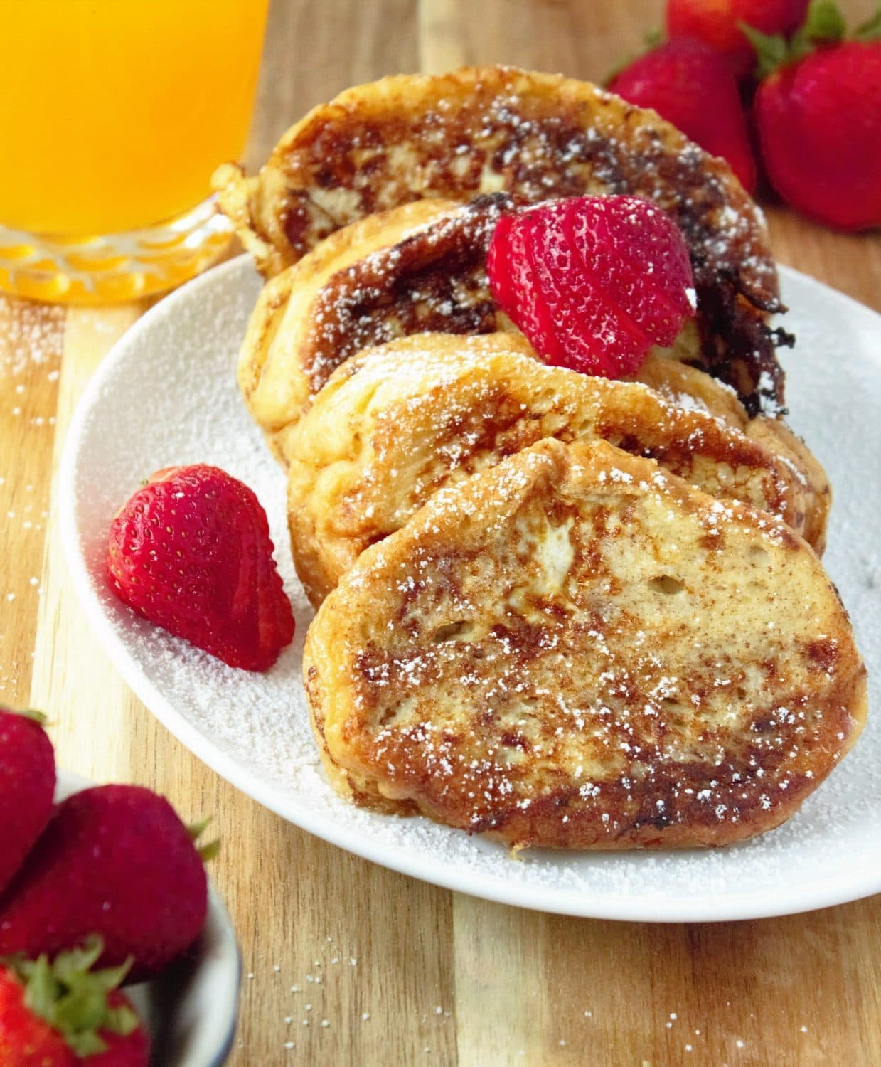 From start to finish, you'll have a delicious, filling, plate full of French Toast with a decadent vanilla custard.