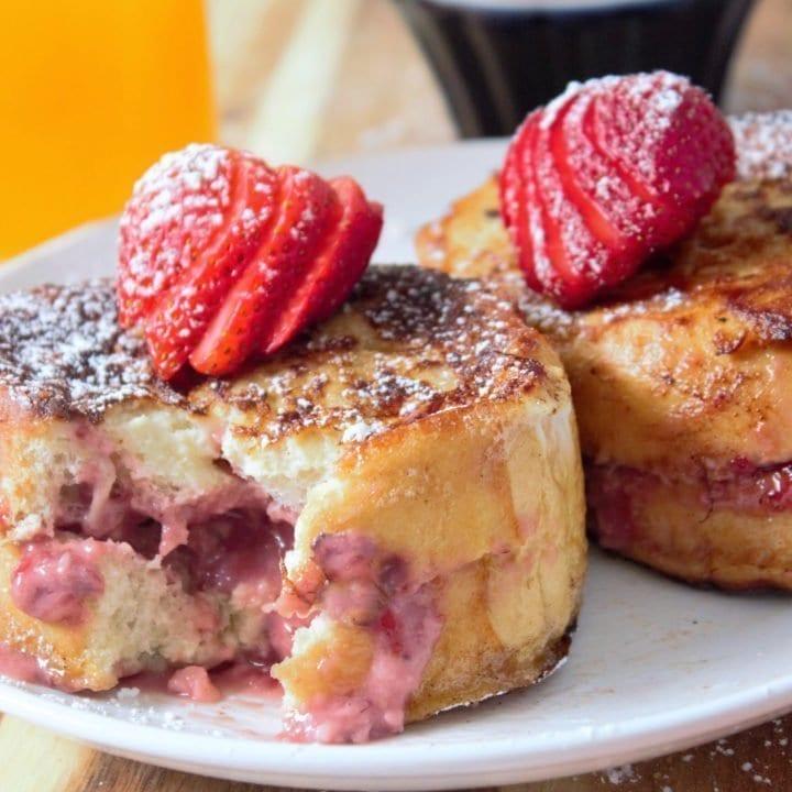 Strawberries & Cream Stuffed French Toast