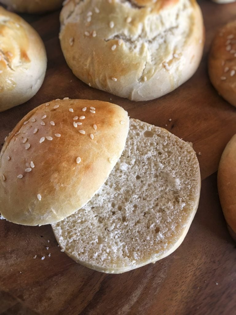 Soft, rich, buttery brioche buns with a buttery, tender crumb are perfect for sandwiches and burgers and made in 45 minutes, start to finish.