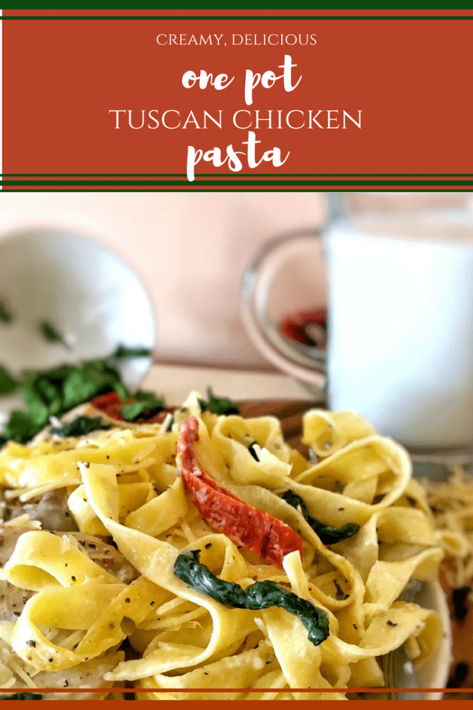 One-Pot Creamy Tuscan Chicken Pasta is cooked in one pot, even the pasta, and a wonderful, creamy sauce with spinach and sundried tomatoes, in 30 minutes.