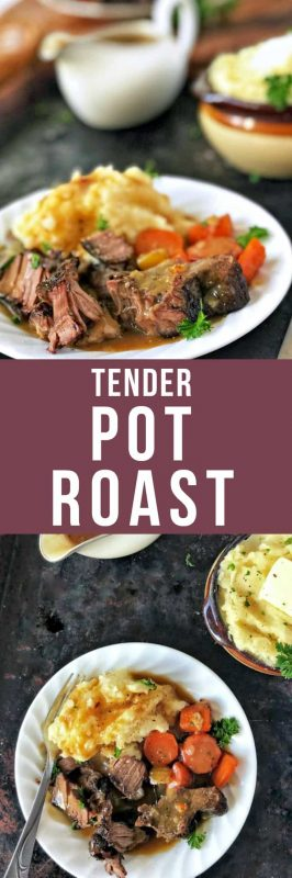 This tender oven-braised pot roast is melt-in-your-mouth goodness, incredibly flavorful with veggies and fresh herbs, and super easy to put together!