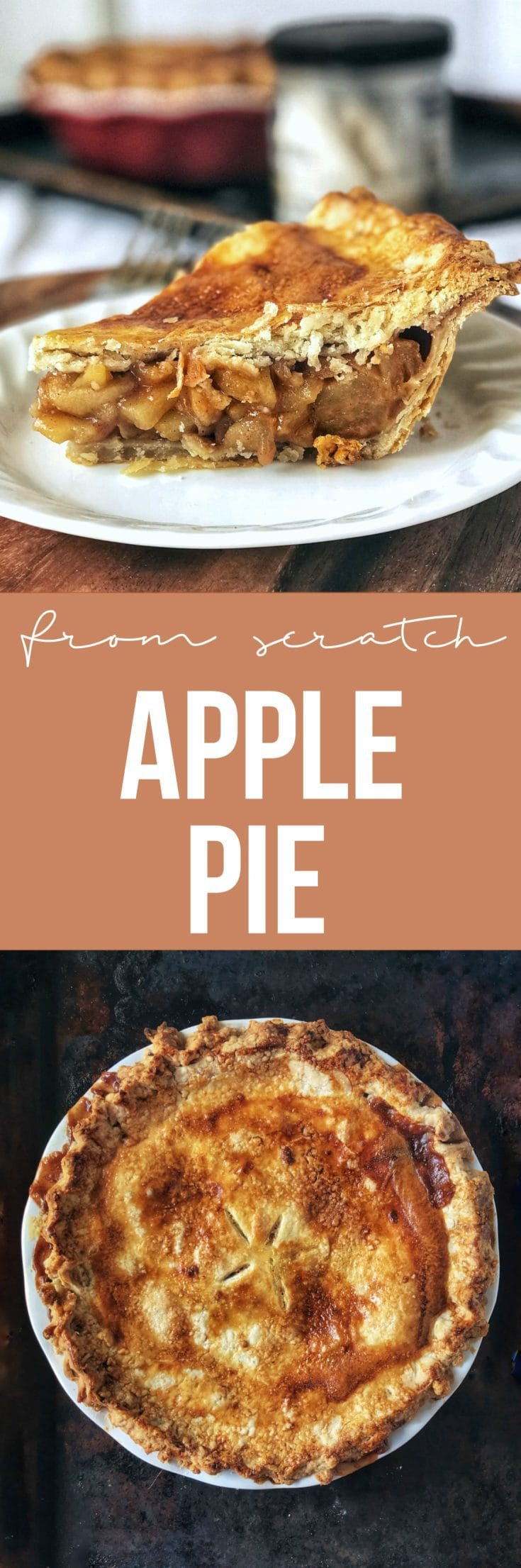 Apple pie from scratch that slices beautifully with amazingly flaky crusts, spiced apple filling that holds its shape, and is perfect for any holiday!