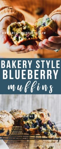 These incredibly moist blueberry muffins are just like the ones at any bakery or Starbucks. Big, soft, fluffy muffins with a delicious streusel-crumb and lemon sugar topping!