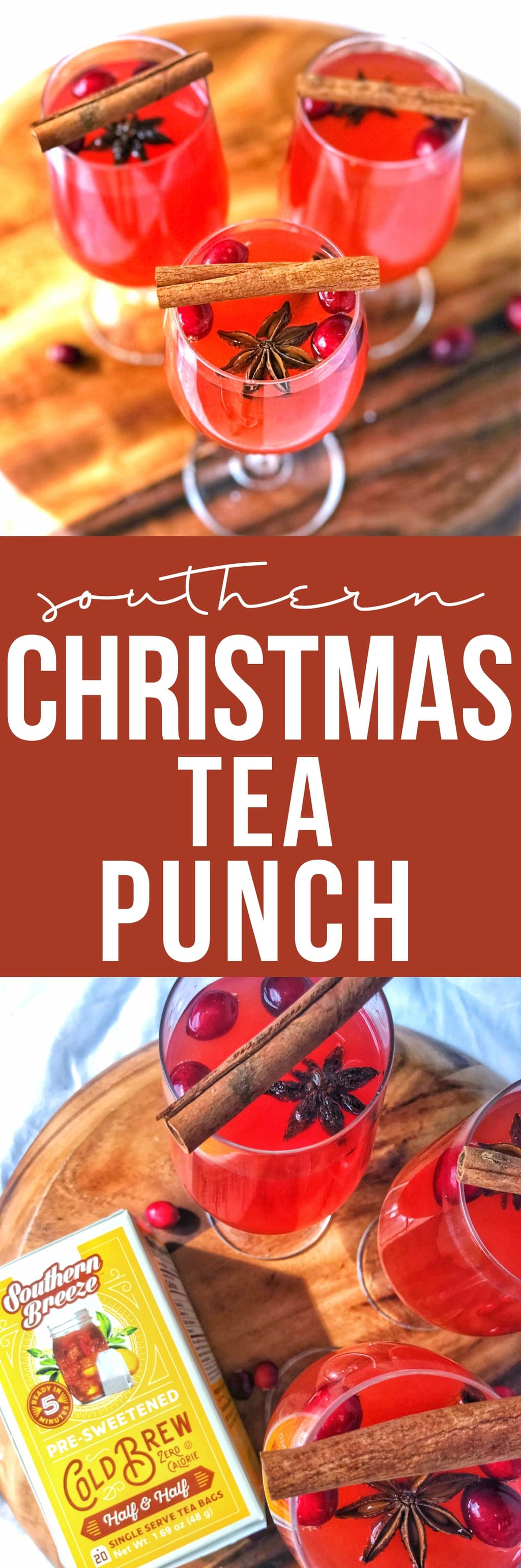 Christmas tea punch is an easy holiday drink made even easier using cold brew tea and plenty of holiday cheer with cranberries and sparkling cider.