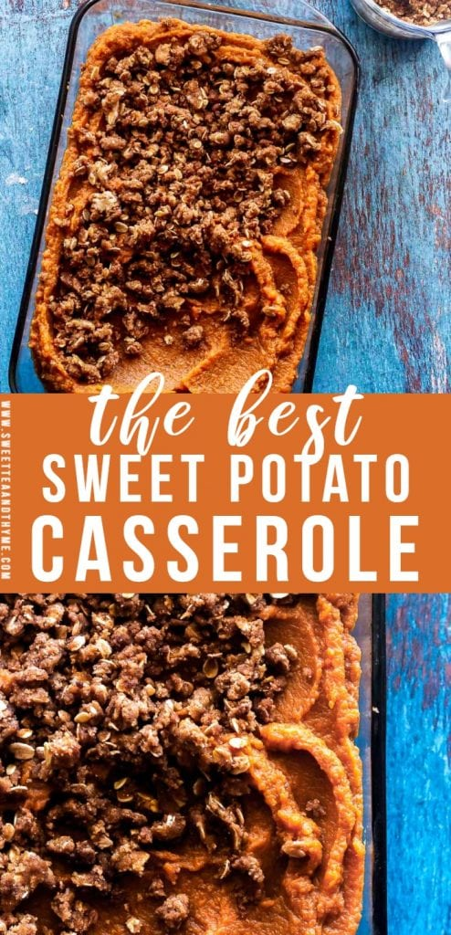 Sweet Potato Casserole is inspired by Ruth's Chris Steakhouse with a decadent sweet potato filling and crunchy brown sugar streusel topping. It's a fantastic autumn and holiday dish that is comforting, sweet, and full of flavor.