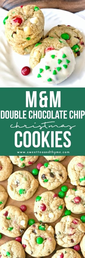 Thick, chewy, and ready for Santa! These M&M's Christmas cookies are mixed with both semi-sweet and white chocolate chips and are ready to eat in just 30 minutes. Perfect for the holiday season.
