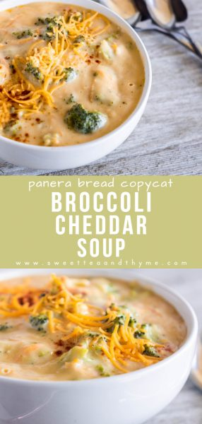 Comforting and creamy broccoli cheddar soup is a fan-favorite at Panera Bread! It's quick to make at home and perfect for those cold weather evenings!