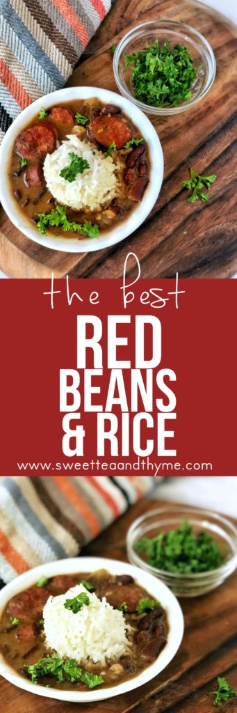 Red beans and rice is a full meal all on it's own; a big bowl of pure flavor and comfort, with smoky ham hock and spicy andouille sausage, veggies and beans, will fill you right up.
