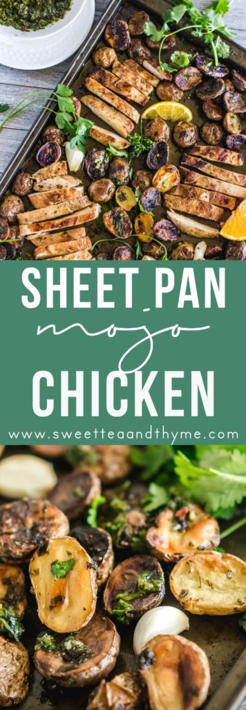 """Sheet pan mojo chicken and the potatoes are full of garlicky, citrusy flavor thanks to the mojo and served with herbaceous chimichurri. Dinner is as easy as """"marinate and throw on a sheet pan""""."""