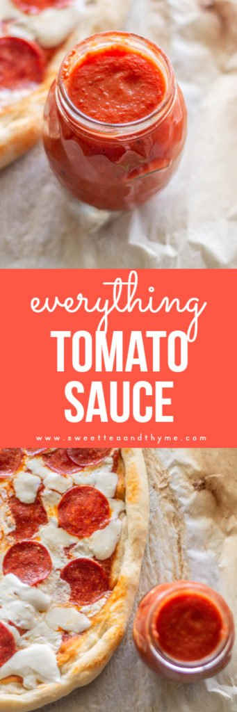 This tomato sauce is insanely easy and amazing on anything you normally use tomato sauce in, like pizza and spaghetti. Say goodbye to the store bought and hello to your new best friend!