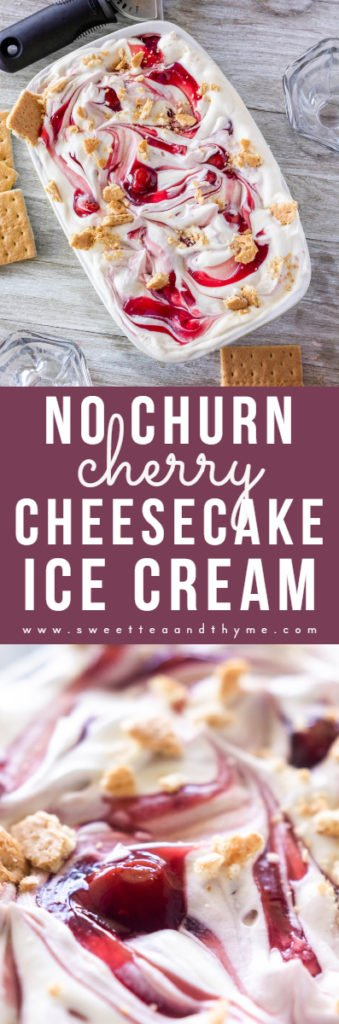 Smooth, creamy, and decadent cherry cheesecake ice cream recipe that doesn't require any fancy equipment! It's really easy to make, and the hardest part is the wait!