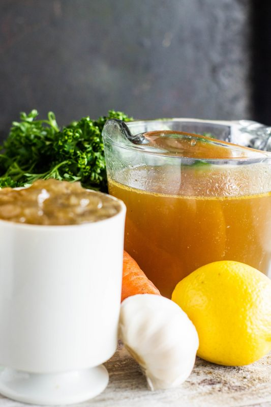 Chicken stock is easy to make from scratch! Homemade chicken stock can be used in just about anything and is essential in a cold-busting chicken noodle soup.