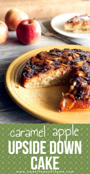 This caramel apple upside down cake is a rich, moist, easy to make cake covered in apples and caramel that's made in one hour!