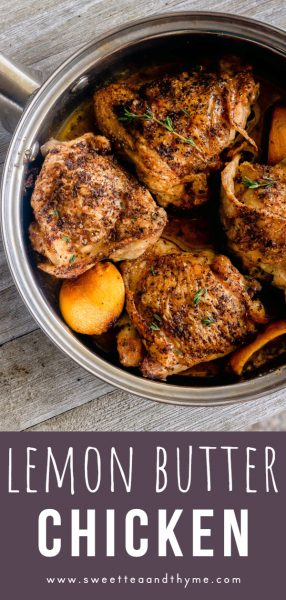 This lemon butter chicken is an easy, delicious recipe with a butter sauce flavored with garlic, thyme, lemon, and smoked paprika.