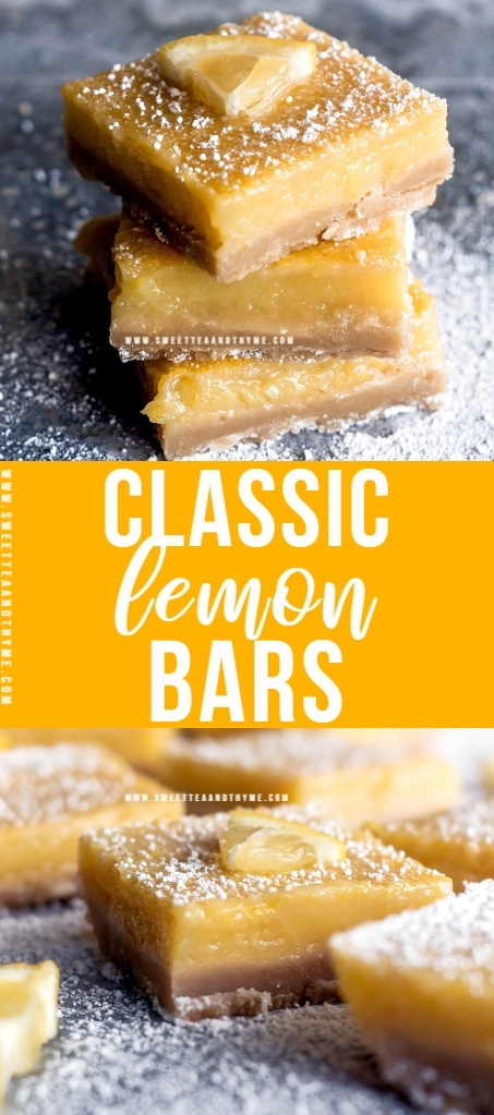 Classic lemon bars with a thick, creamy, bright and zesty lemon filling and soft, sweet, buttery shortbread crust. Perfect for any holiday table, spring brunch, baby shower, or Sunday dessert!