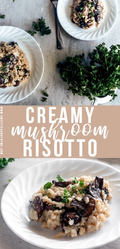 An oh so creamy, cheesy, super easy, and wonderfully comforting mushroom risotto recipe. The mushrooms add a rich, earthy flavor that really goes with all of that fresh parmesan you'll be piling on top.