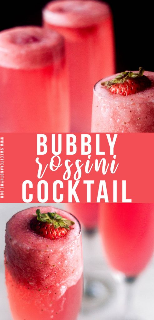 The rossini cocktail is your new favorite brunch drink! Made with strawberry puree, sparkling wine, and simple syrup, it's easy, sweet, and perfect for any occasion.