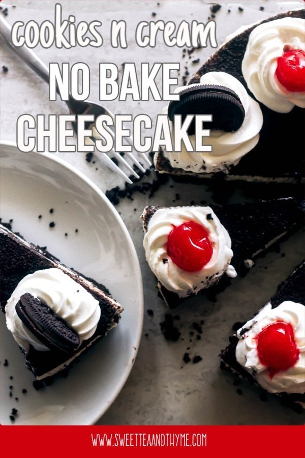 This No Bake Oreo Cheesecake is what every chocolate sandwich cookie dreams of becoming. With a crunchy cookie crust, a cookies and cream filling, and no oven time needed, it's the ultimate summer dessert!
