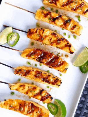Grilled Pineapple Spears with Jalapeno Honey