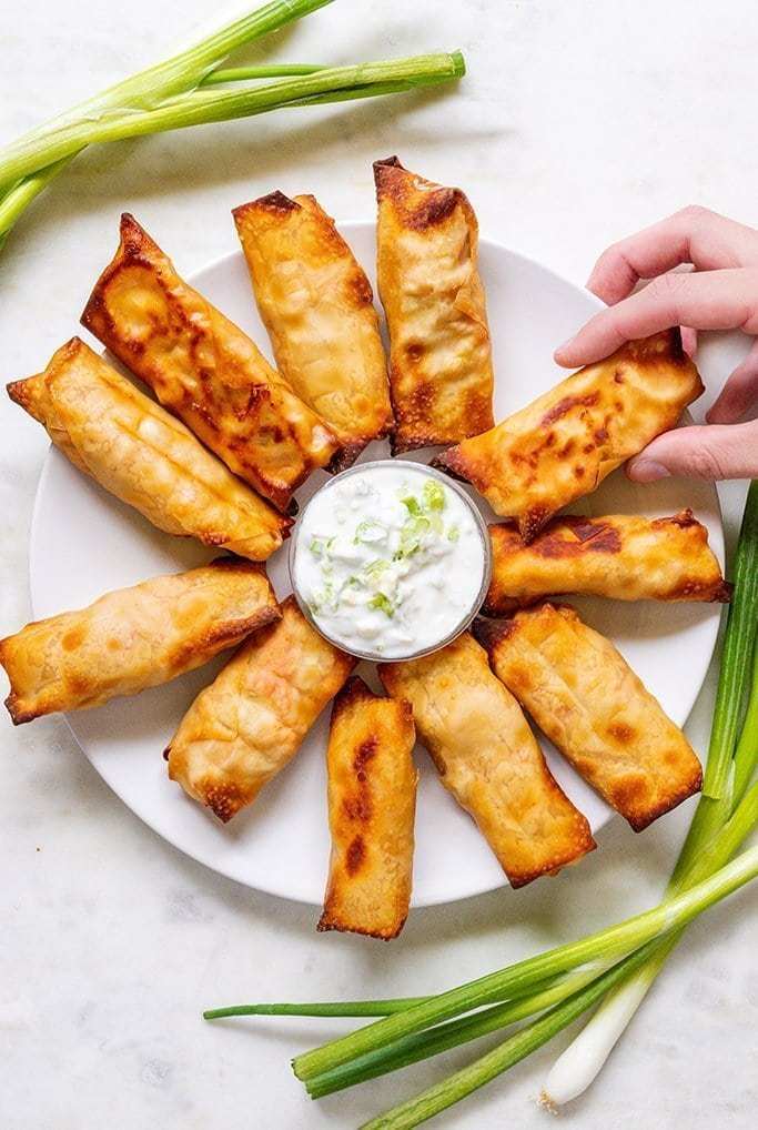 Buffalo Chicken Wontons with Yogurt Blue Cheese Dip