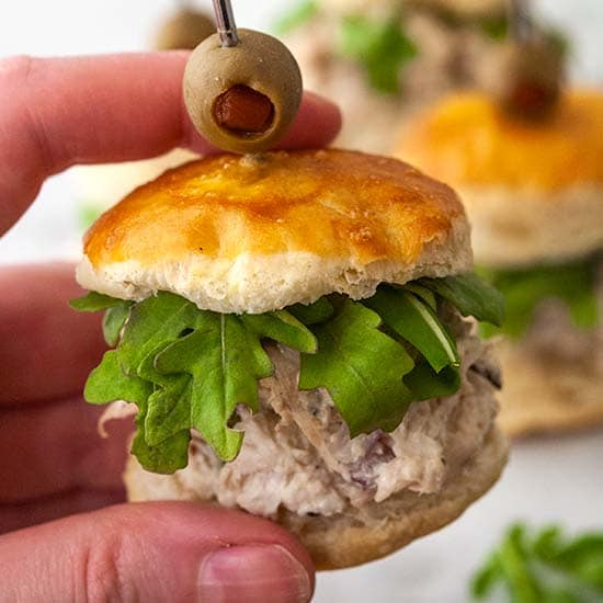 Dill Chicken Salad Sliders with Puff Pastry Buns