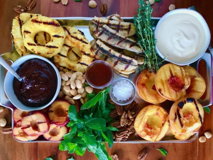 Grilled Fruit Platter with 2 Luscious Sauces