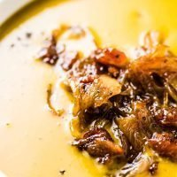Pumpkin Soup with Maple Bacon Onions