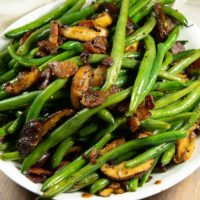Sauteed Green Beans with Thick Cut Bacon and Mushrooms