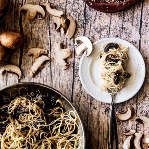 Crispy Mushroom Pasta with Creamy Sauce