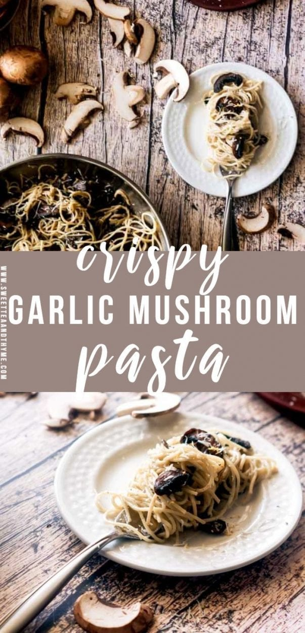 Crispy sauteed mushrooms are tossed and swirled with pasta in a garlicky cream sauce. This easy meatless weeknight crispy mushroom pasta with creamy garlic sauce is perfect for any occasion!