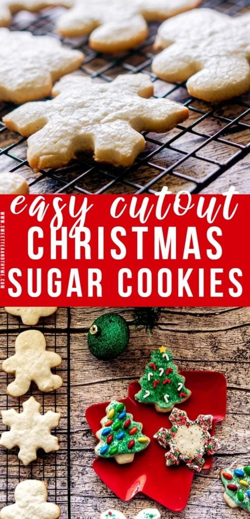 These Christmas Sugar Cookies are simple, soft, and buttery! They bake up perfectly shaped, stay soft and tasty for days, and are fantastic to cover in sweet icing and give away as gifts for the holidays!