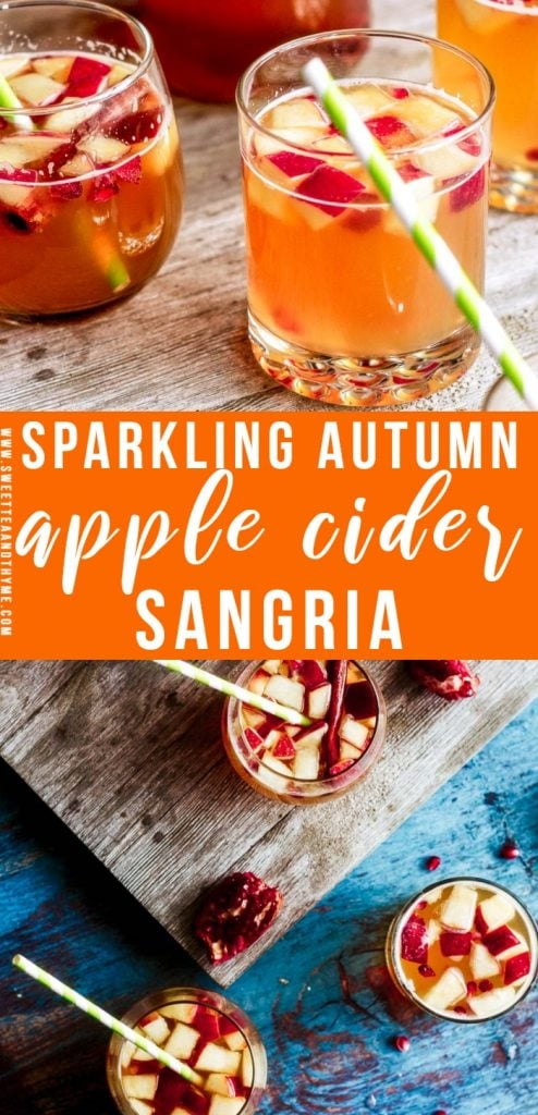 Use your favorite wine for this bubbly, fun, perfectly autumn apple cider sangria! With fresh Honeycrisp apples, pomegranates, fresh and sparkling cider, cinnamon, a splash of citrus, and plenty of alcohol, apple cider sangria the perfect drink for your comfy fall evenings and holiday get-togethers.
