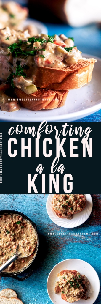 Cozy, comforting Chicken a la King is one of my favorite weeknight dinners! Juicy chicken and tender veggies with creamy, flavorful gravy served over toast, biscuits, or pasta is a winner with the whole family, even picky kids.