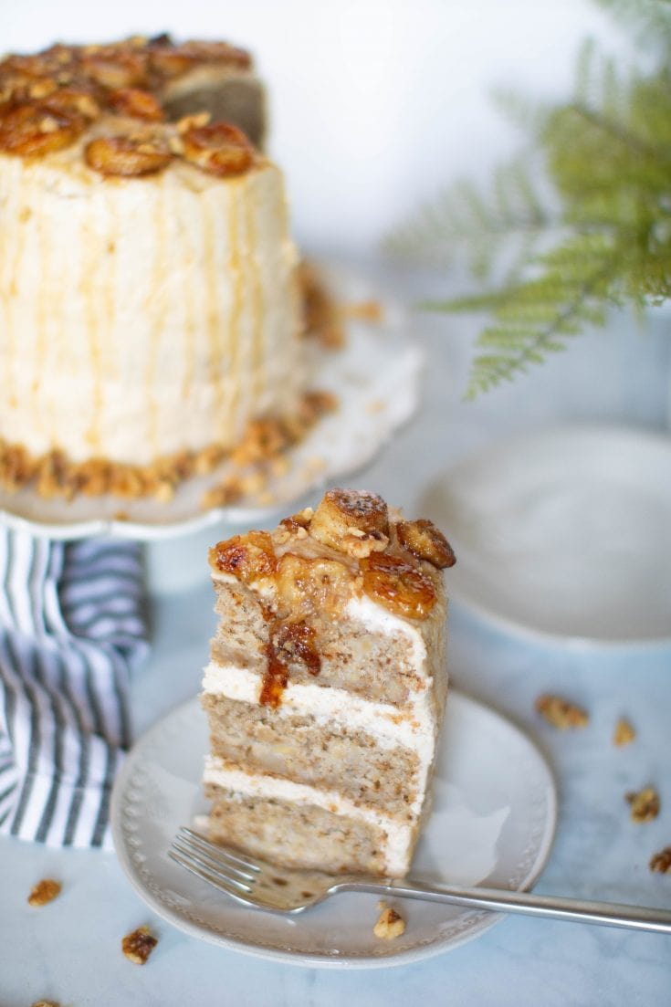 Vegan Banana Cake + Cinnamon Browned Butter Buttercream