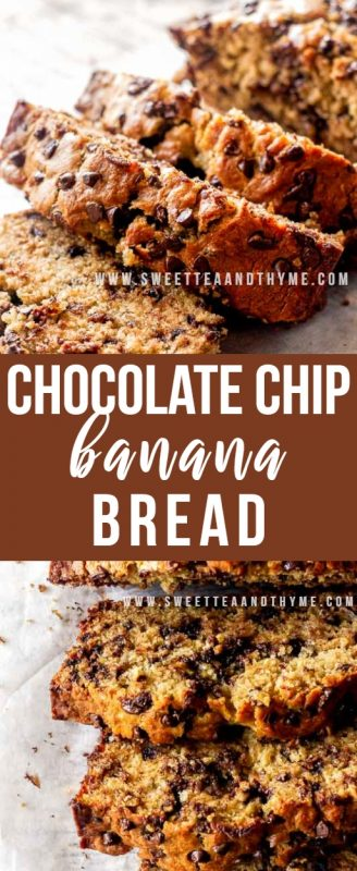 This chocolate chipbanana bread is full of chocolate chips, flavorful, sweet, and super moist. In other words, it's the best from-scratch banana bread recipe you will ever find! The best thing to go with your morning cup of coffee or tea, made in one bowl.