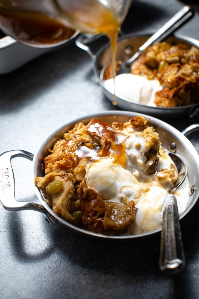 Challah Bread Pudding With Bourbon Sauce