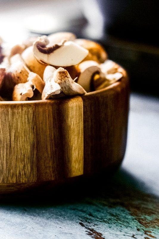 a bowl of chopped mushrooms