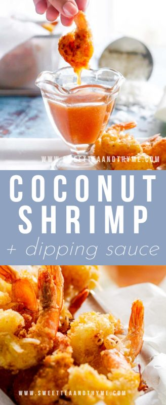 Crowd-pleasing coconut shrimp are crispy little bites of golden-brown deep-fried goodness with juicy jumbo shrimp inside. This recipe is super easy, quick to whip up, and served with a tangy, sweet, and savory coconut shrimp sauce that everyone loves.