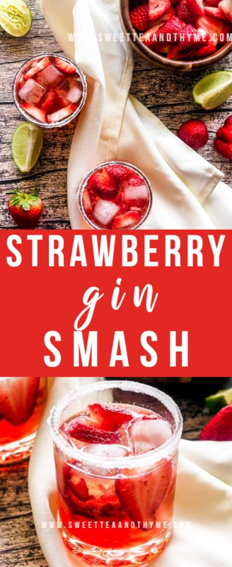 This fresh and fruity strawberry gin smash is a super simple cocktail that is perfect for spring and summer!