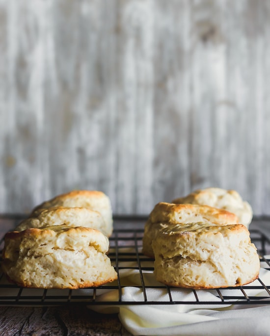 buttermilk biscuits cooling on a wire rack
