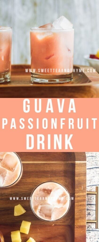 This iced guava passion fruit drink is identical to the pink Starbucks drink, made with a homemade guava pineapple ginger syrup, passionfruit and guava juices, then shaken up with coconut milk and served over ice for a creamy tropical summer drink any time!