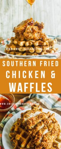 Homemade Chicken and Waffles is a true soul food brunch dish that everyone loves. My recipe includes juicy Southern fried chicken and fluffy waffles with an amazing sweet and spicy sauce made with maple syrup or honey.