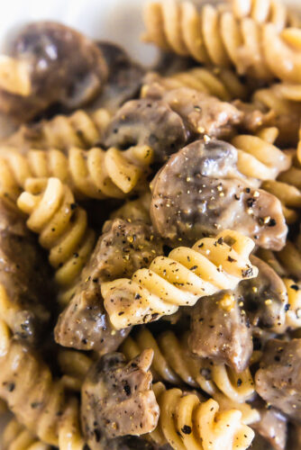 close up of stroganoff sauce and mushrooms tossed with pasta