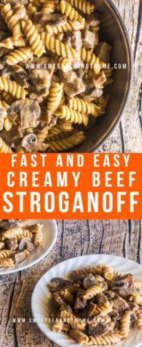 This is the easiest and tastiest classic beef stroganoff ever! Cubes of tender beef seared with earthy button mushrooms then smothered in a rich, creamy stroganoff sauce are served over rice, pasta, or fluffy mashed potatoes. A comfort food classic that's perfect for cold weather and busy weeknight dinners!