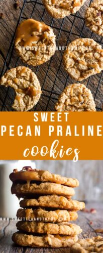 These easy and sweet cookies bring me back to my mama's holiday baking! Chewy Brown Sugar Pecan cookies topped with a praline icing drizzle (or dunk!) for a delicious cookie spin on the classic Southern candy. Make sure to hide some for yourself, they're irresistible!