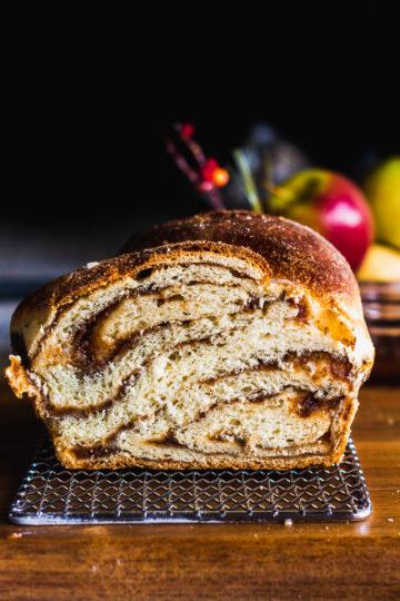 close up of the swirls of apple butter inside the babka loaf