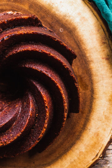 overhead shot of the details of the bundt cake created by the nordic ware heritage bundt pan